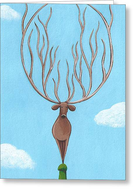 Kids Room Drawings Greeting Cards - Deer Nursery Art Greeting Card by Christy Beckwith