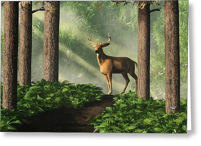Harts Digital Greeting Cards - Deer on a Forest Path Greeting Card by Daniel Eskridge