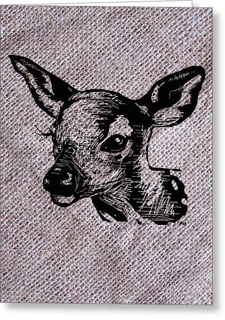 Photoshop Drawings Greeting Cards - Deer on burlap Greeting Card by Konni Jensen