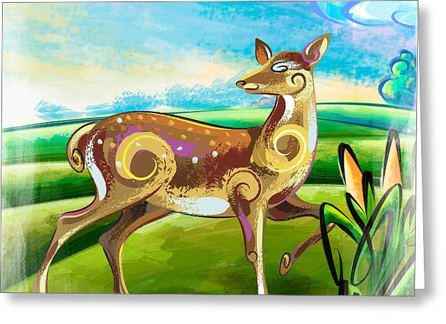 Vista Mixed Media Greeting Cards - Deer Over Hill Greeting Card by Bedros Awak