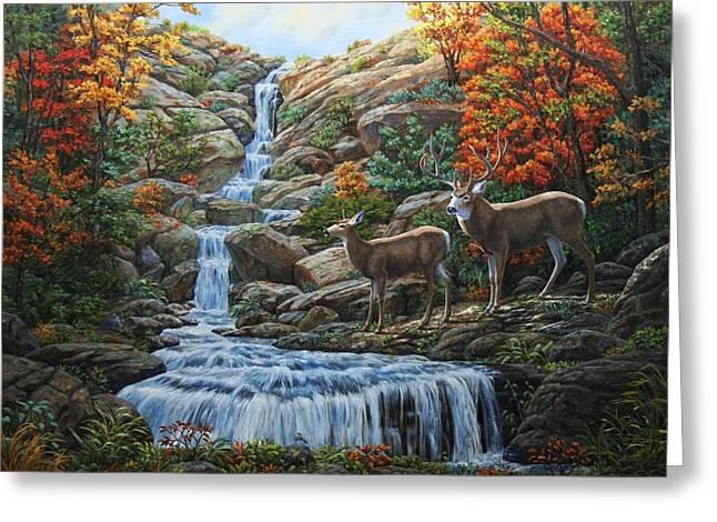 Stream Greeting Cards - Deer Painting - Tranquil Deer Cove Greeting Card by Crista Forest