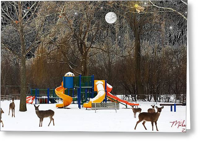 Moon Set Digital Art Greeting Cards - Deer Park Greeting Card by Michael Rucker