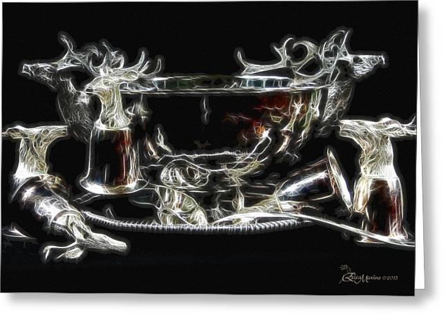Deer Punch Bowl Set Greeting Card by EricaMaxine  Price