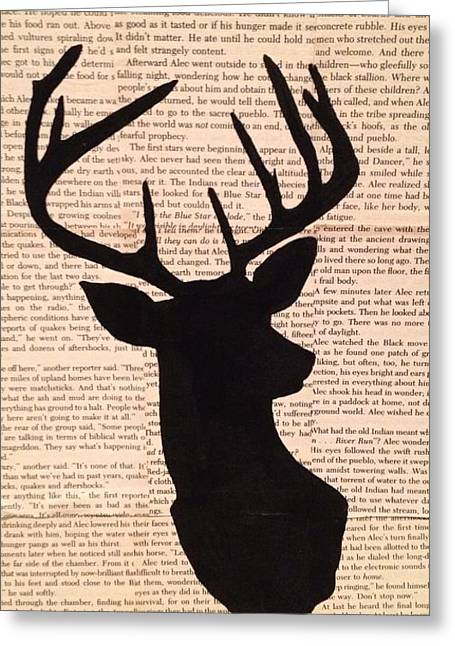 Hunting Cabin Mixed Media Greeting Cards - Deer reader Greeting Card by Laura Marie