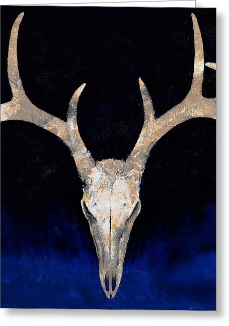 Country Western Greeting Cards - Deer Skull Greeting Card by Michael Creese