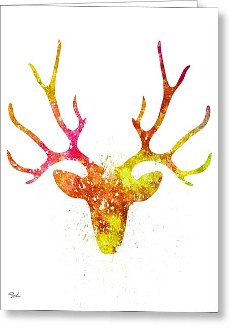 Silhouette Art Greeting Cards - Deer  Greeting Card by Lyubomir Kanelov