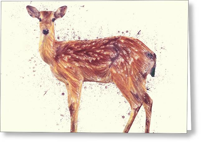 Kitchen Wall Drawings Greeting Cards - Deer Study Greeting Card by Taylan Soyturk