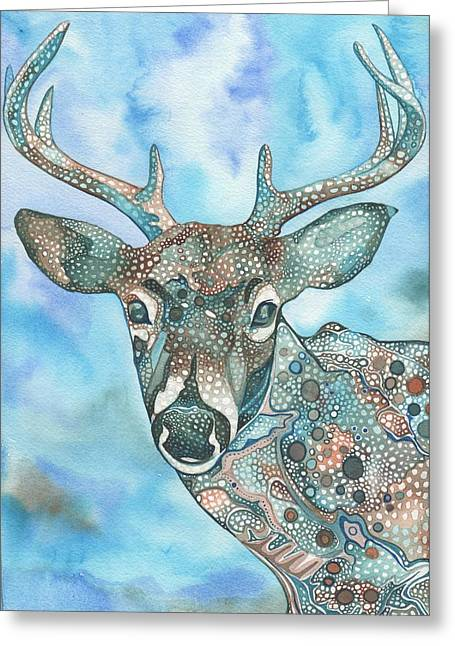 Cyan Greeting Cards - Deer Greeting Card by Tamara Phillips