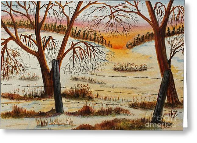Forty Paintings Greeting Cards - Deer Trail to the West Forty Greeting Card by Jack G  Brauer