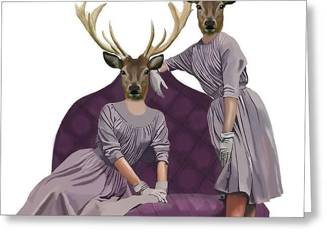 Deer Twins in purple Greeting Card by Kelly McLaughlan