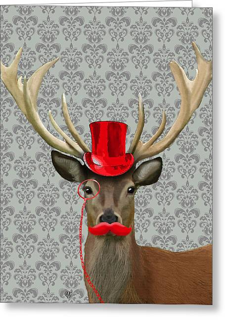 Tophat Greeting Cards - Deer with Top Hat and Moustache Red Greeting Card by Kelly McLaughlan