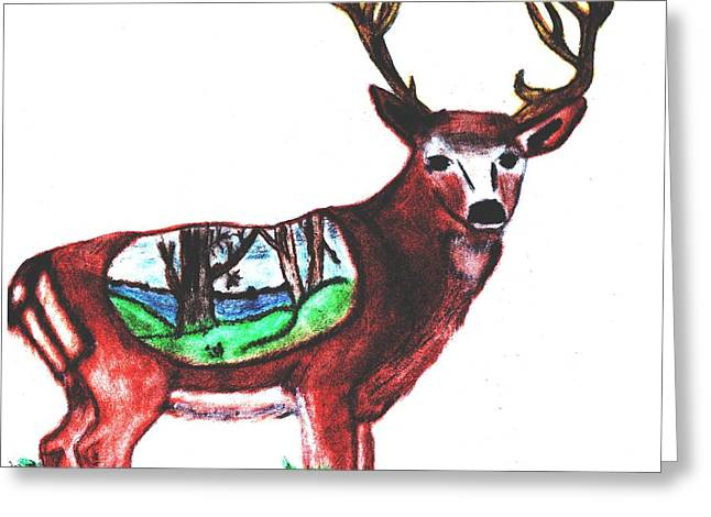 Golden Brown Pastels Greeting Cards - Deer World Greeting Card by Shaunna Juuti