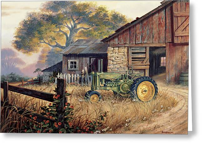 Barns Greeting Cards - Deere Country Greeting Card by Michael Humphries