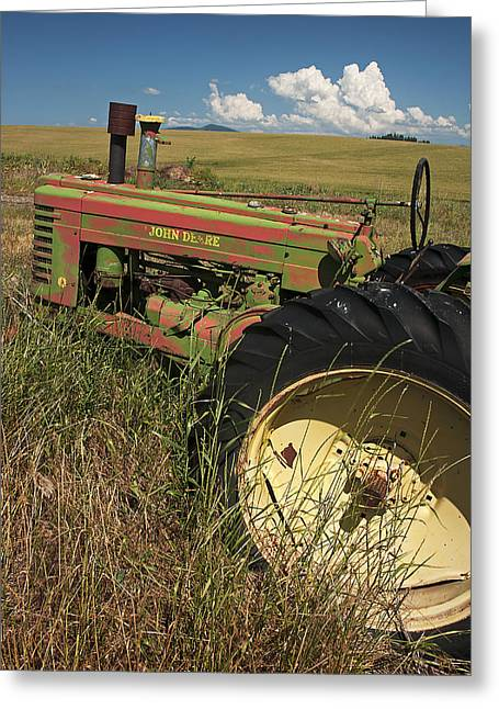 Contour Plowing Greeting Cards - Deere John Greeting Card by Latah Trail Foundation