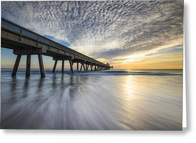 Florida Landscape Photography Greeting Cards - Deerfield Beach Pier Sunrise - Boca Raton Florida Greeting Card by Dave Allen