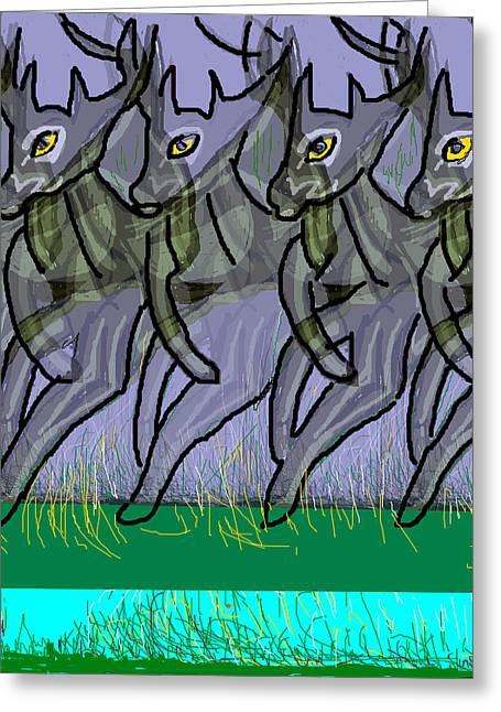 Digital Ceramics Greeting Cards - Deers Greeting Card by Anand Swaroop Manchiraju