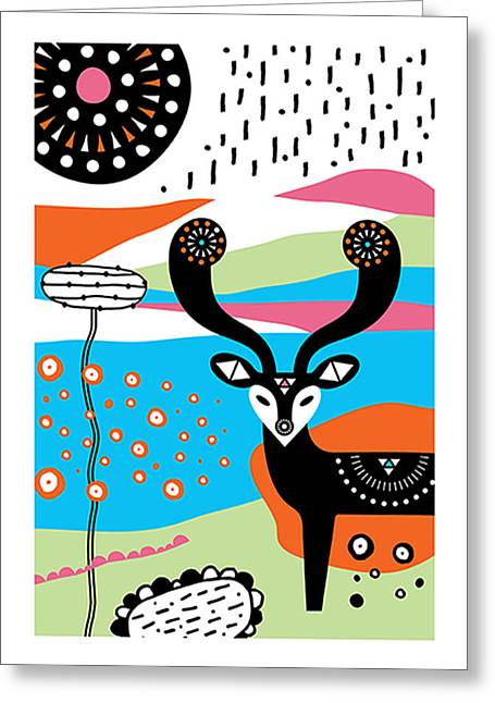 Tangerine Greeting Cards - Deery Me Greeting Card by Susan Claire