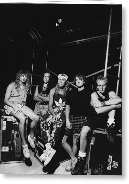 Def Leppard Greeting Cards - Def Leppard - Adrenalize Tour B&W 1992 Greeting Card by Epic Rights