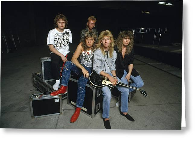 Def Leppard Greeting Cards - Def Leppard - Equipment & Gear 1987 Greeting Card by Epic Rights