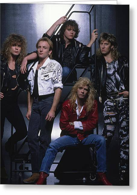 Def Leppard Greeting Cards - Def Leppard - Group Stairs 1987 Greeting Card by Epic Rights
