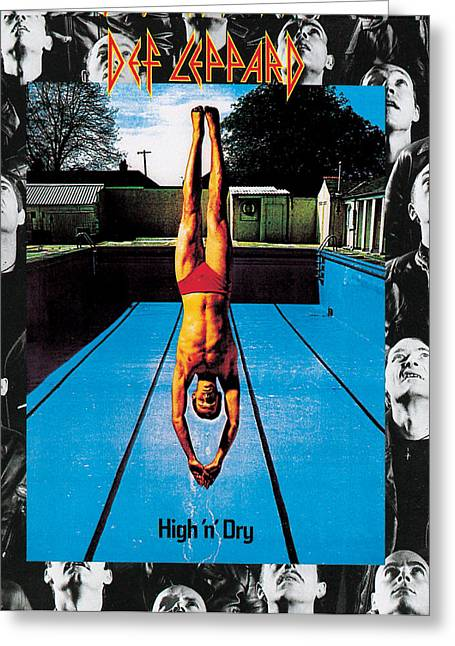 Def Leppard Greeting Cards - Def Leppard - High n Dry 1981 Greeting Card by Epic Rights