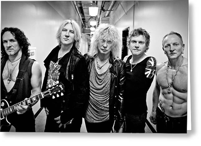 Def Leppard Greeting Cards - Def Leppard - Mirrorball Tour 2011 B&W Greeting Card by Epic Rights