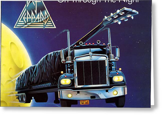 Noon Greeting Cards - Def Leppard - On Through The Night 1980 Greeting Card by Epic Rights