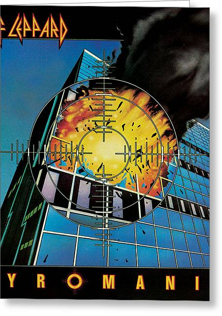 Def Leppard Greeting Cards - Def Leppard - Pyromania 1983 Greeting Card by Epic Rights