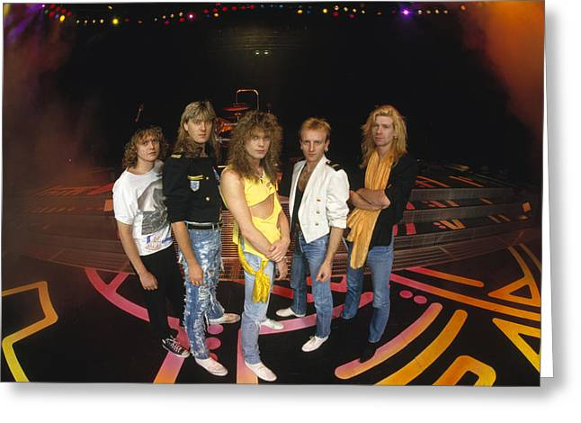 Noon Greeting Cards - Def Leppard - Round Stage 1987 Greeting Card by Epic Rights