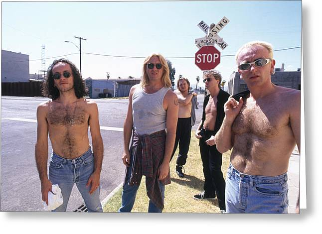 Def Leppard Greeting Cards - Def Leppard - Slang Tour 1996 - Jackson Street Greeting Card by Epic Rights