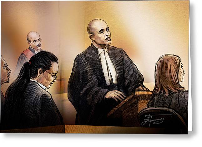 Trial Drawings Greeting Cards - Defence Lawyer Edward Sapiano at Jennifer Pan Trial Greeting Card by Alex Tavshunsky