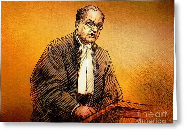 Trial Greeting Cards - Defence Lawyer Robert Richardson at Richard Kachkar Trial Greeting Card by Alex Tavshunsky