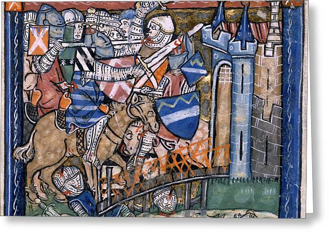Lancelot Greeting Cards - Defence Of Joieuse Garde Greeting Card by British Library