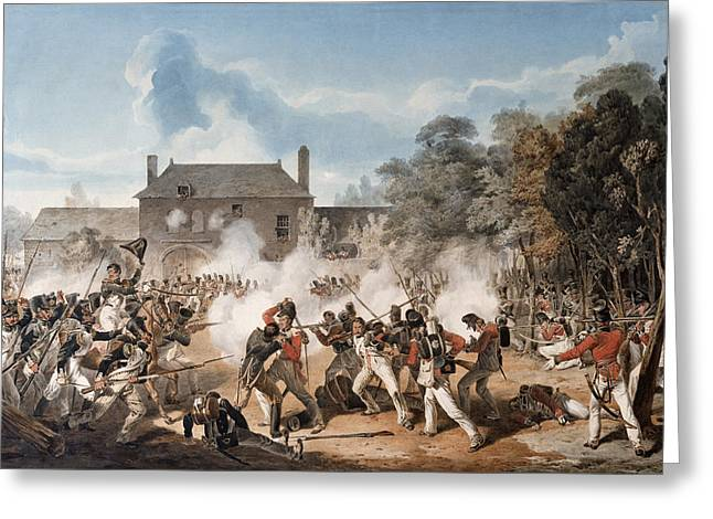 Battle Greeting Cards - Defence Of The Chateau De Hougoumont Greeting Card by Denis Dighton