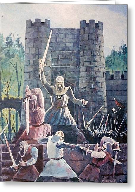 Knights Castle Paintings Greeting Cards - Defend Greeting Card by Robert Sankner