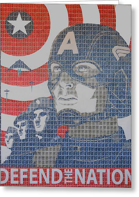 Capt. America Greeting Cards - Defend The Nation Greeting Card by Gary Hogben