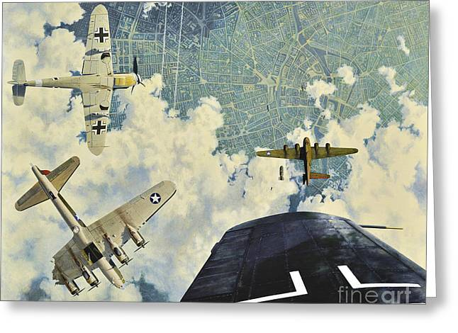 40s Paintings Greeting Cards - Defender. The Battle of Berlin Greeting Card by Oleg Konin