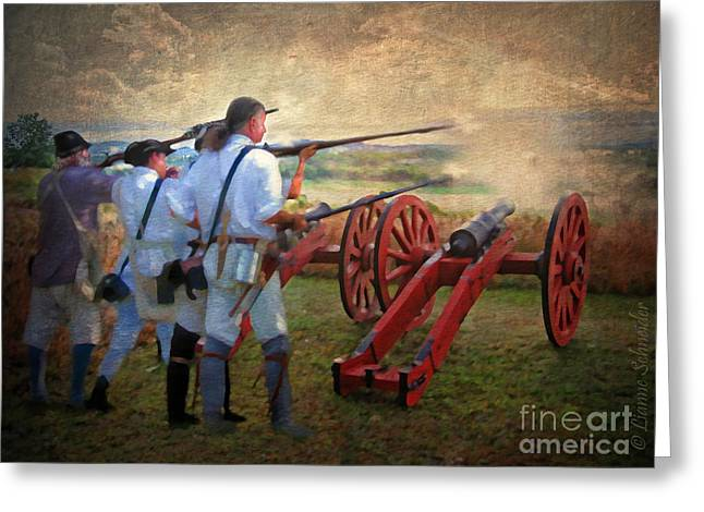 Benedict Greeting Cards - Defending Bemis Heights 1777 Greeting Card by Lianne Schneider