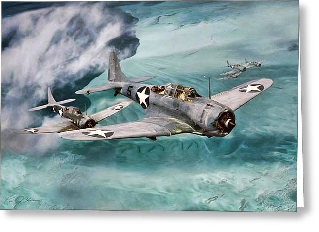 Carrier Digital Art Greeting Cards - Defending Midway Greeting Card by Peter Chilelli