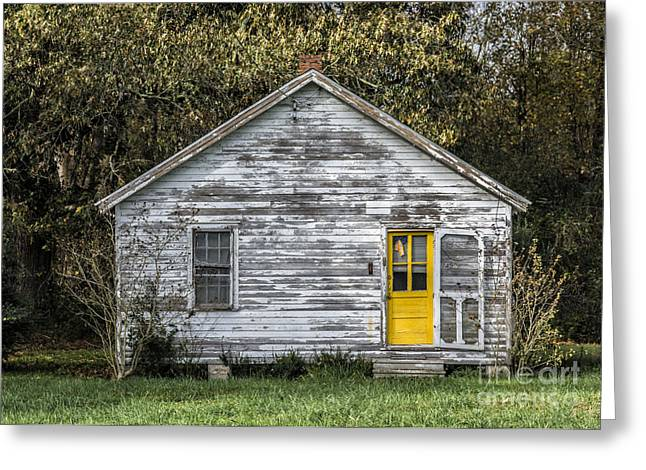 Still Standing Greeting Cards - Defiant Yellow Door Greeting Card by Terry Rowe