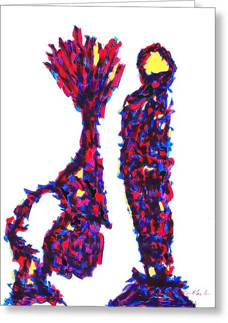 Block Print Drawings Greeting Cards - Definism Design 70 Greeting Card by Darrell Black
