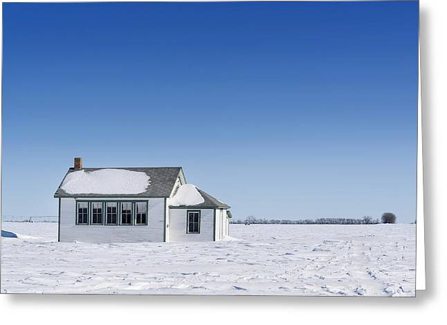 Old School House Greeting Cards - Defunct Country School Building In Winter Greeting Card by Donald  Erickson