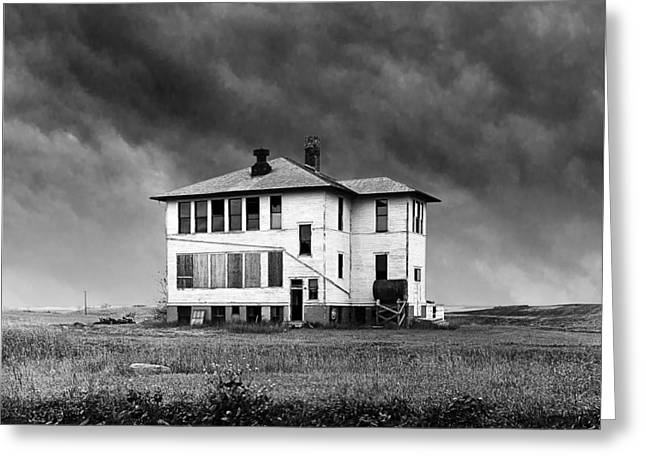 Mid West Landscape Art Greeting Cards - Defunct Rural School Building Greeting Card by Donald  Erickson