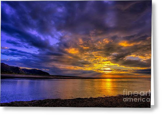 North Sea Digital Art Greeting Cards - Deganwy Sunset Greeting Card by Adrian Evans