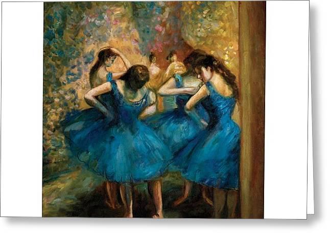 Danseuses Bleues Greeting Cards - Degas Copy of Danseuses bleues Greeting Card by J Nance