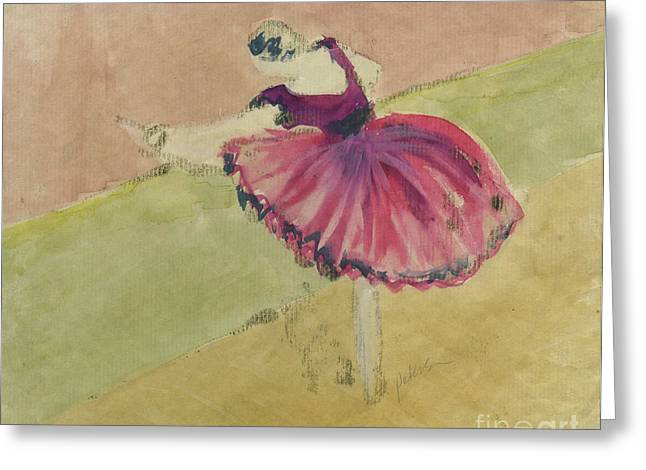 Ventura California Greeting Cards - Degas Dancer in Pink 1994.  Greeting Card by Cathy Peterson