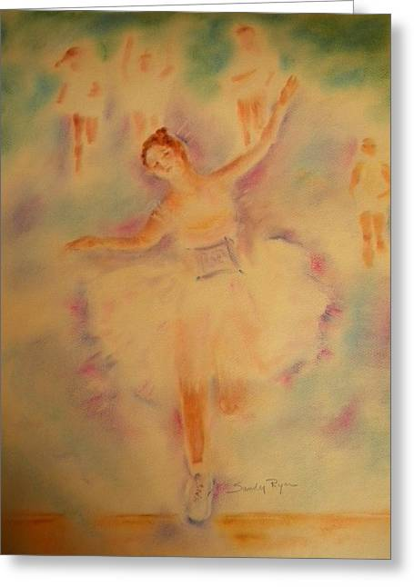 Athlete Pastels Greeting Cards - Degas Runner   Finish Line Greeting Card by Sandy Ryan