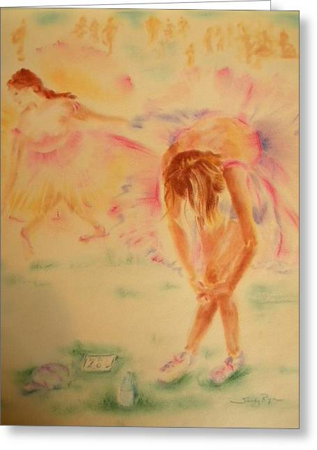 Athlete Pastels Greeting Cards - Degas Runner  Stretch Greeting Card by Sandy Ryan