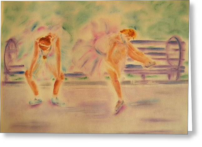 Athlete Pastels Greeting Cards - Degas Runner   With Medal Greeting Card by Sandy Ryan