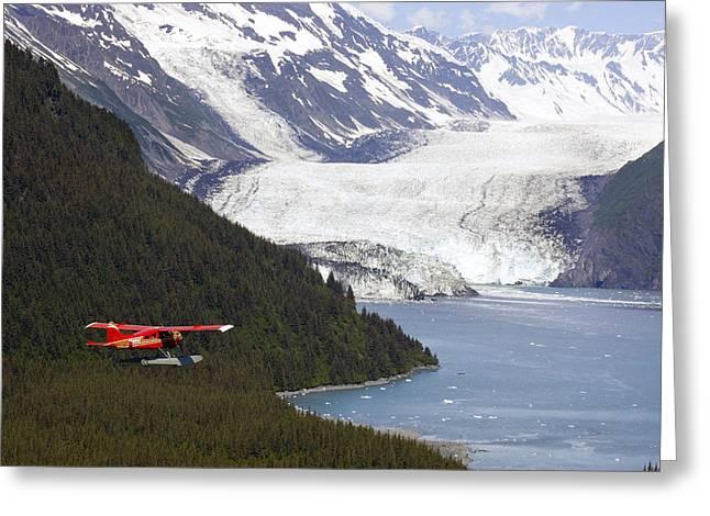 Floatplane Greeting Cards - Dehavilland Beaver Floatplane Flying Greeting Card by Mark Stadsklev